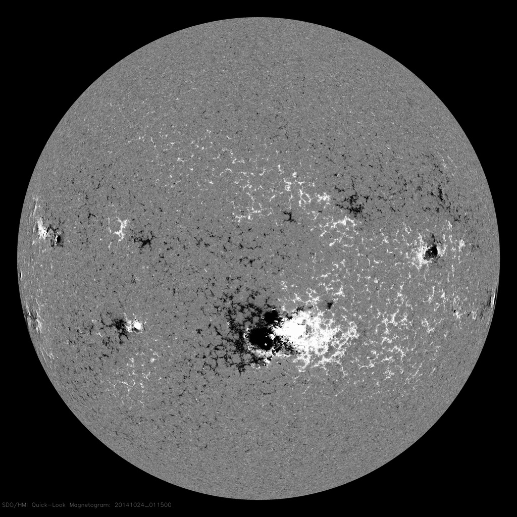 Magnetogram of the Sun taken on October 24, 2014 by NASA's Solar & Heliospheric Observatory spacecraft
