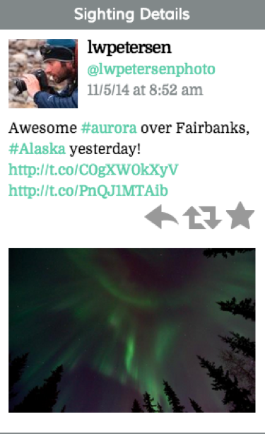"Tweet reads ""Awesome #aurora over Fairbanks, #Alaska yesterday! (2 links)"""