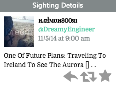 "Tweet reads: ""One Of Future Plans: Traveling To Ireland To See The Aurora [] . ."""