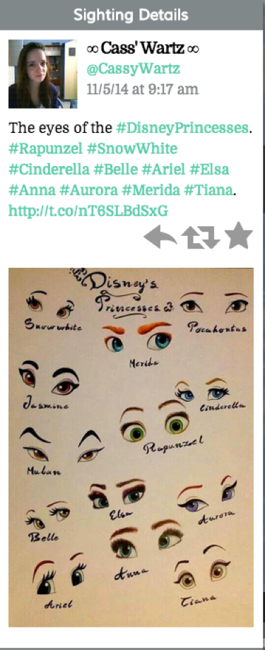 "Tweet reads: ""The eyes of the #DisneyPrincesses. #Rapunzel #SnowWhite #Cinderella #Belle #Ariel #Elsa #Anna #Aurora #Merida #Tiana. (link)"""