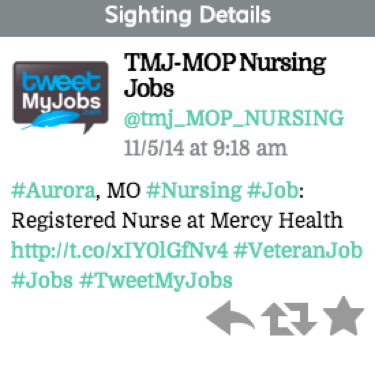 "Tweet reads ""#Aurora, MO #Nursing #Job: Registered Nurse at Mercy Health (link) #VeteranJob #Jobs #TweetMyJobs"""