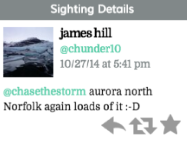 "Tweet reads: ""@chasethestorm aurora north Norfolk again loads of it :-D"""
