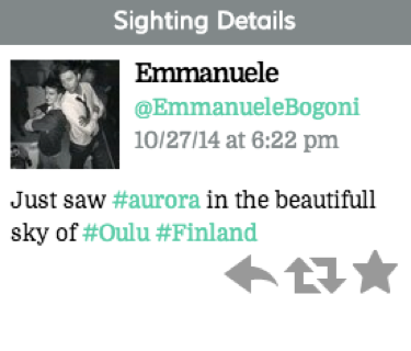 "Tweet reads ""Just saw #aurora in the beautifull sky of #Oulu #Finland"""