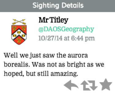 "Tweet reads ""Well we just saw the aurora borealis. Was not as bright as we hoped, but still amazing."""