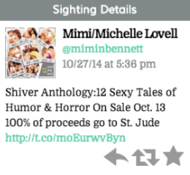"Tweet reads ""Shiver Anthology: 12 Sexy Tales of Humor & Horror On Sale Oct.13 100% of proceeds go to St. Jude (link)"""