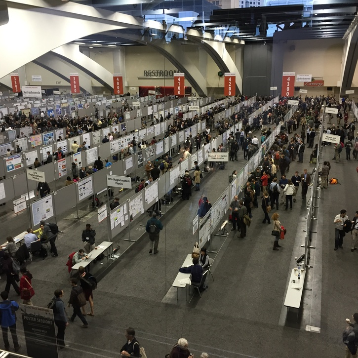 A view looking down on the poster hall at the 2014 AGU Fall Meeting at the Moscone Center in San Francisco. The poster sessions run in four-hour blocks (morning and afternoon) all week. Each section has its own allocated space and the posters are accepted and displayed based on a given topic for the session.