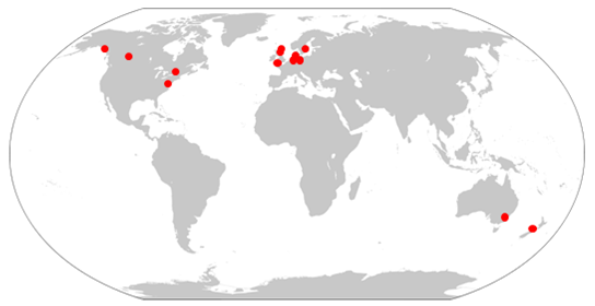 A world map shows four stations in North America, seven in Europe, one in Australia, and one in New Zealand.