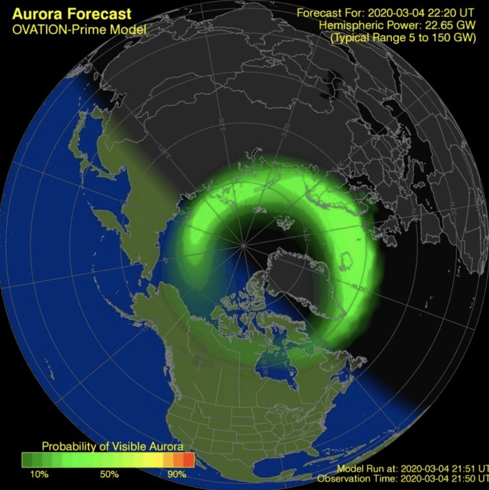 An example image from the Space Weather Prediction Center aurora prediction website