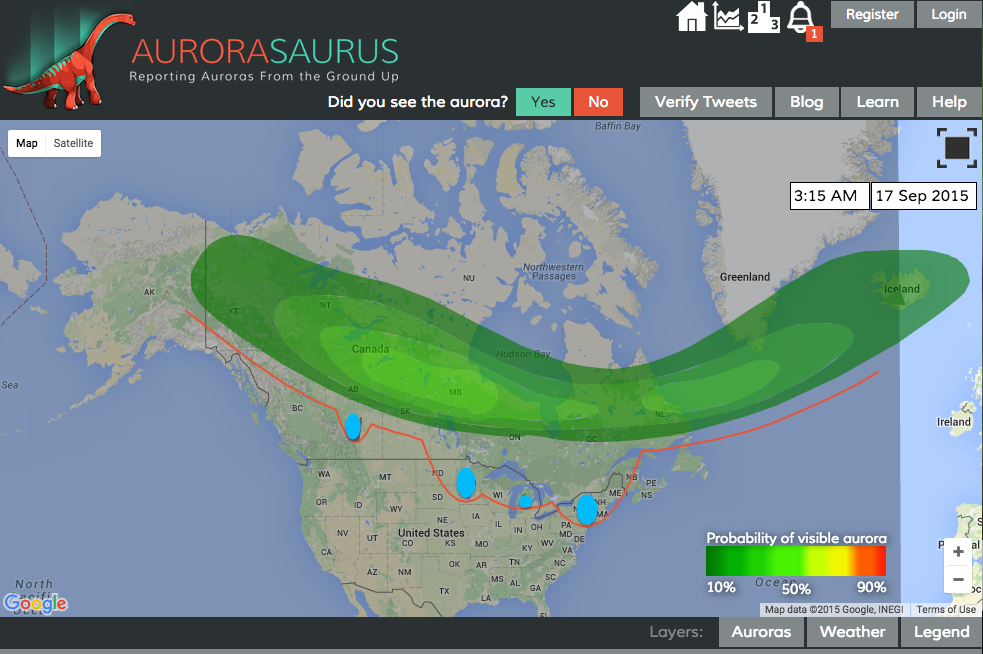 A screenshot of the new Aurorasaurus map with a dynamic view line (red) and clusters of observations (blue)