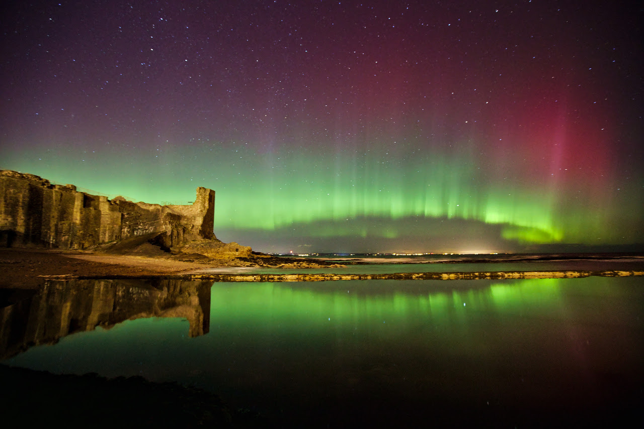 Aurora Borealis over the St Andrews Castle, Scotland  Credit: Alex Thompson.