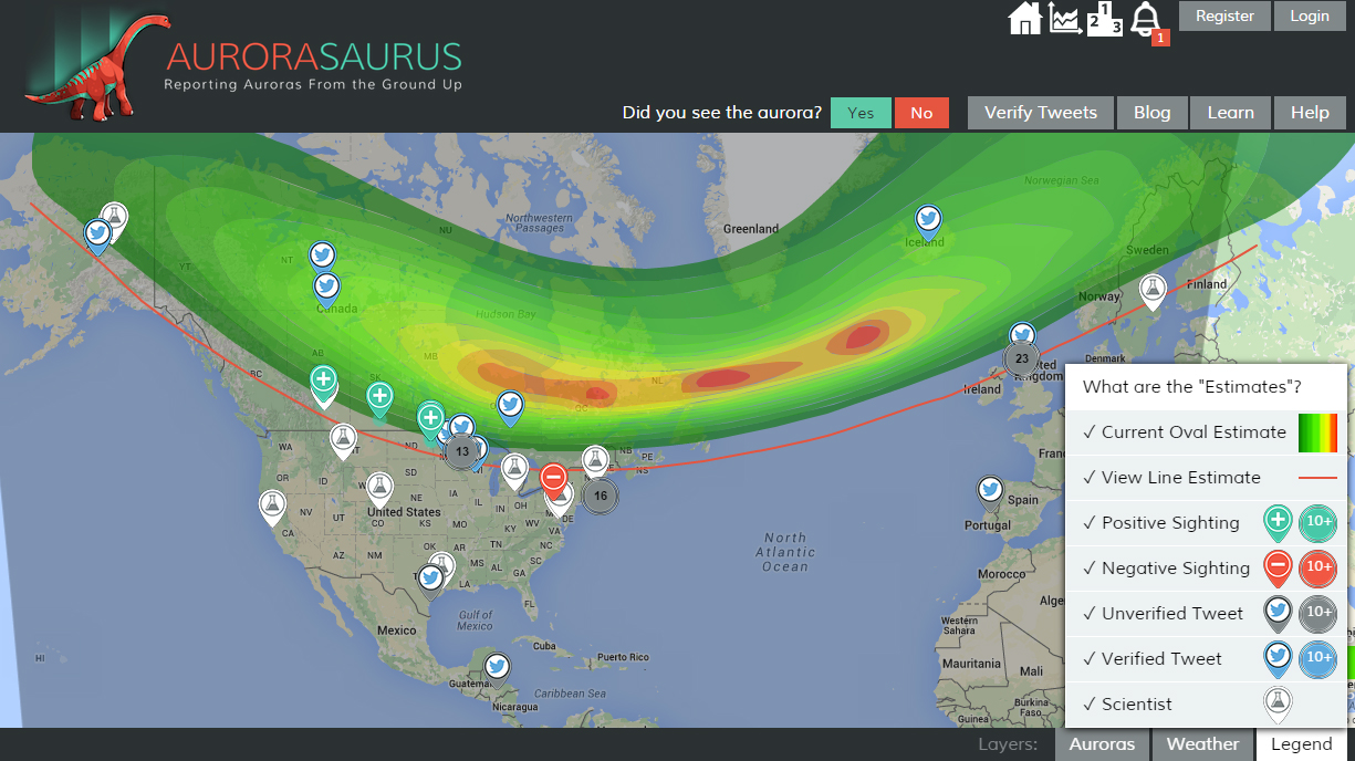 The map shows an aurora storm on March 6, 2016. Citizen scientists reported seeing aurora in the midlands of England, the north coast of the Netherlands, and areas in the United States such as Maine, New York, Minnesota and North Dakota. The green, yellow and red areas show the current oval estimate. Green plus signs mean positive sightings. Blue Twitter icons mean verified tweets.