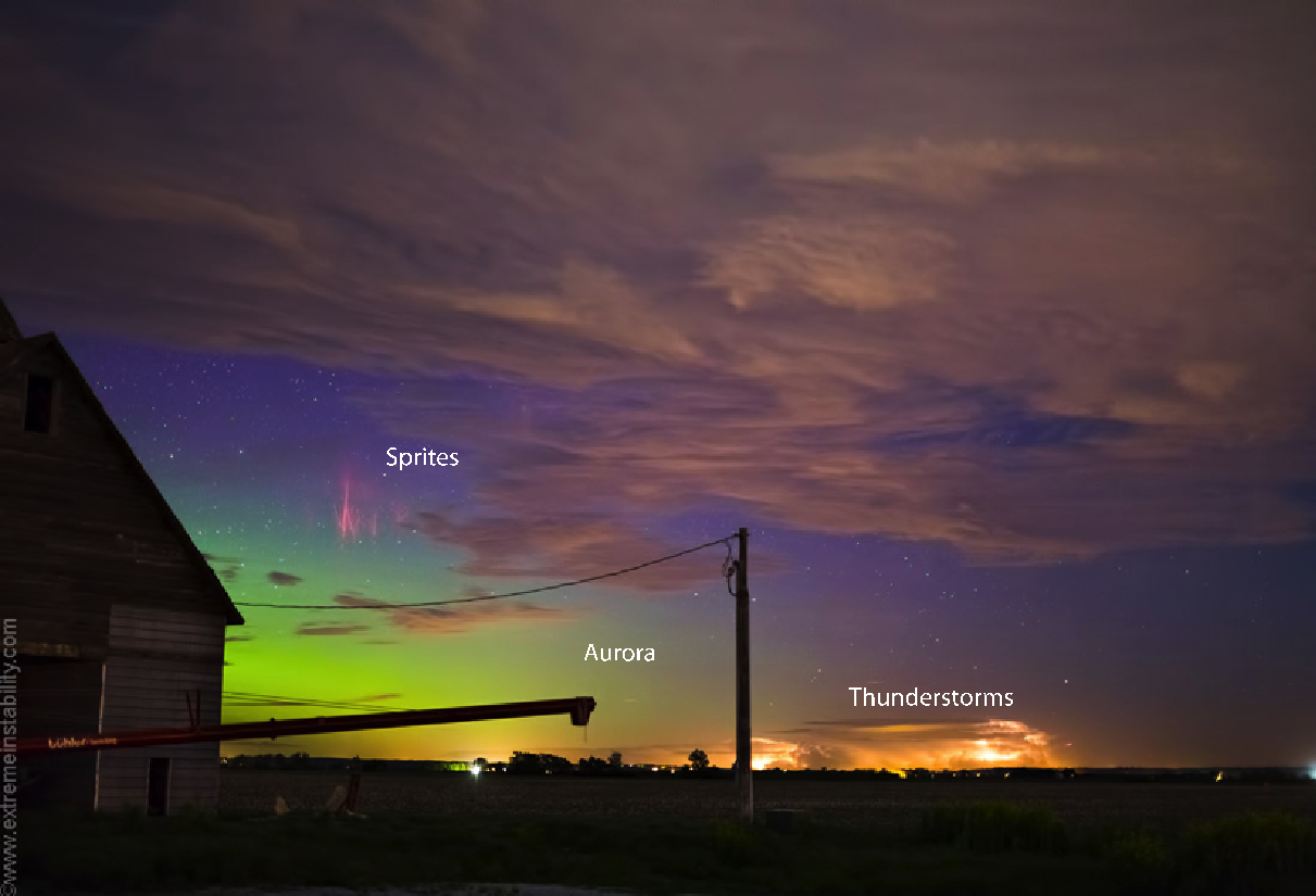An excessively rare image capturing the aurora, red sprites, and a lightning storm in the same frame over Minnesota in May 2013 (Image Credit: stormandsky.com).