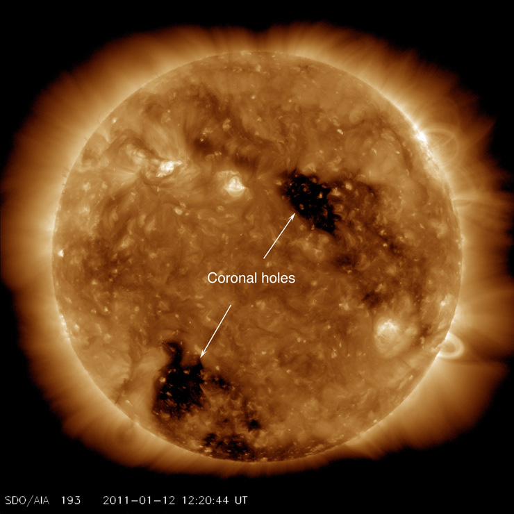 "A large, detailed image of the sun in a yellowish light shows texture and two large black spots across the surface. A label marks them ""coronal holes."""