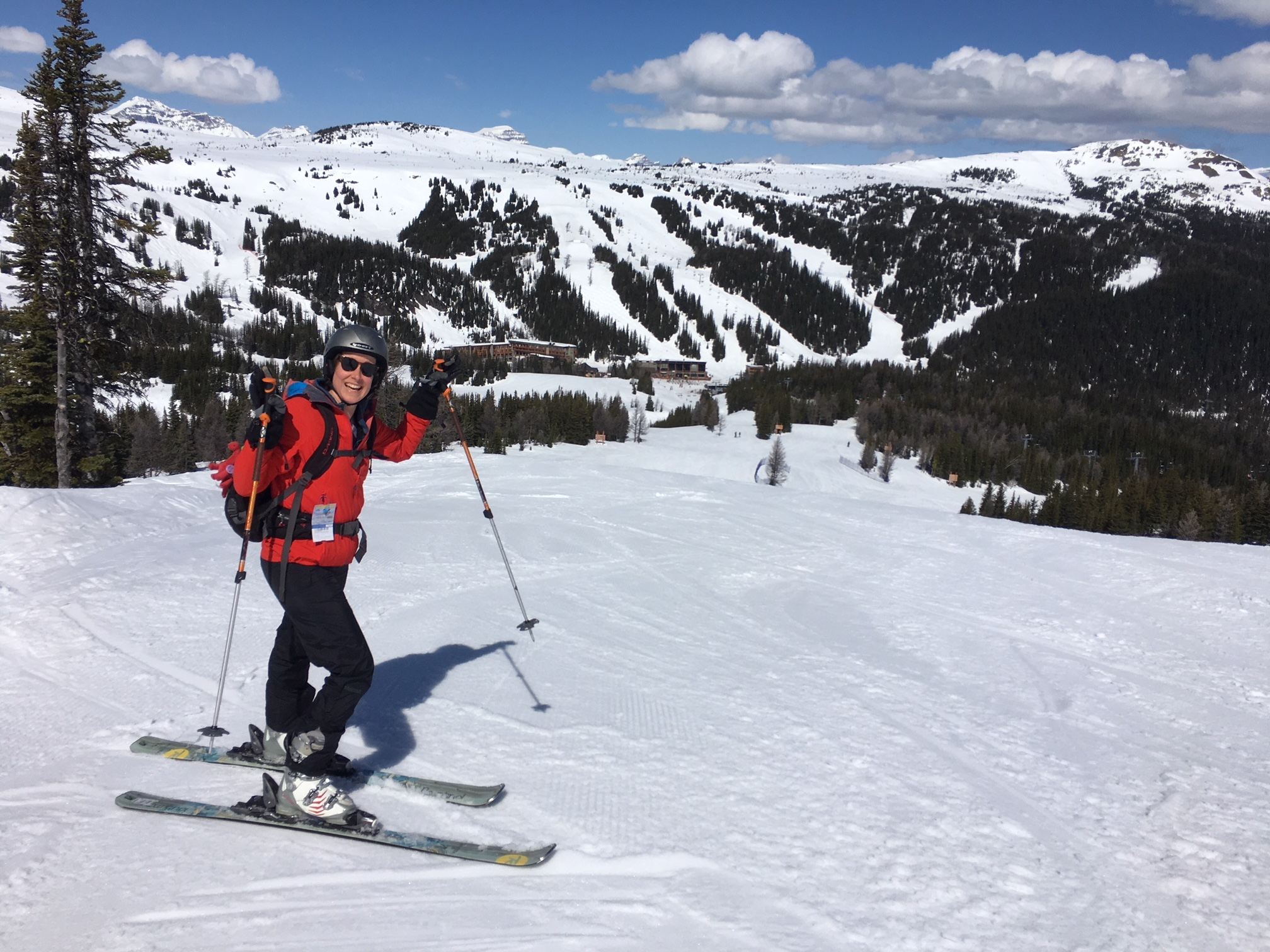 Liz & Rory enjoying fine Canadian spring skiing at Sunshine. Photo by Dave Knudsen.