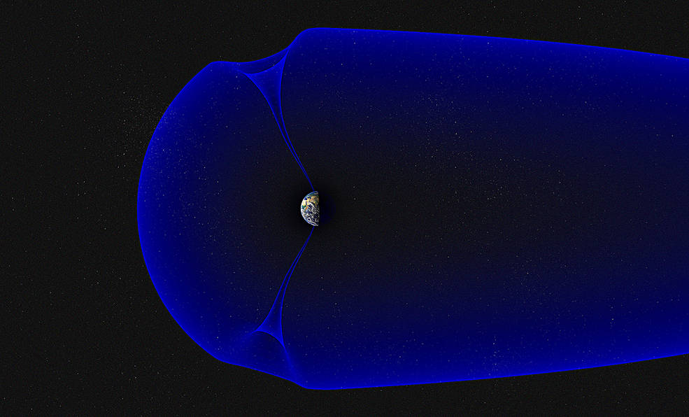 A small image of Earth in the middle of the image is surrounded by a blue diagram of the magnetosphere, billowed around it, with a small complete curve to the left and the magnetic fields streaming out beyond the edge of the photo to the right. At the north and south poles, funnel-shaped gaps in the magnetic field link space with the Earth.