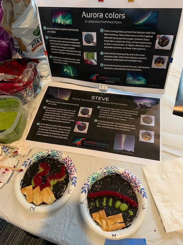 On a table sits a poster describing the colors of aurora and STEVE, and the instructions for making aurora hummus. A plate of aurora hummus and a plate of STEVE hummus sit in front of the poster, with ingredients to the left.
