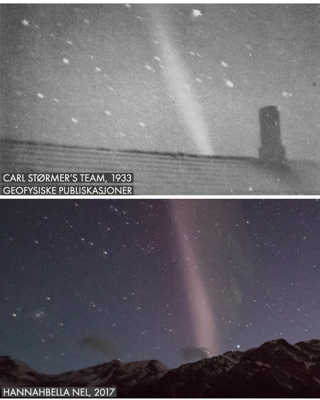 "A black and white photo with slightly blurry stars and a pale, diagonal smear angling to the left over a rooftop is labeled ""Carl Størmer's team, 1933. Geofysiske Publiskasjoner."" Beneath it, a very similar, but colorful image of STEVE over a mountain is labeled ""Hannahbella Nel, 2017."""