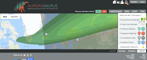 A screenshot of the Aurorasaurus map shows the auroral oval in green, with the red view line beneath it. Scattered across the map are a few Twitter reports.