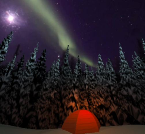 A computer-generated tent glows in a snowy forest, underneath fisheye video capture of the Northern Lights.