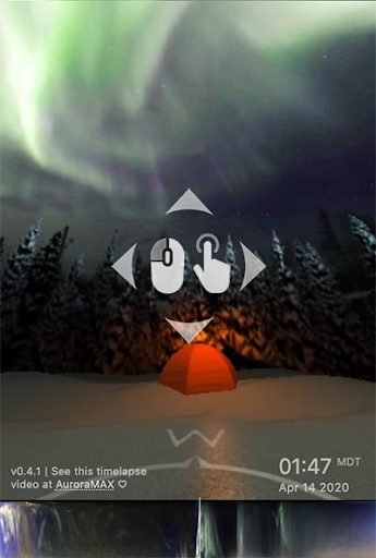 An image shows aurora, trees, and a tent in snow, with a mouse cursor with directional arrows