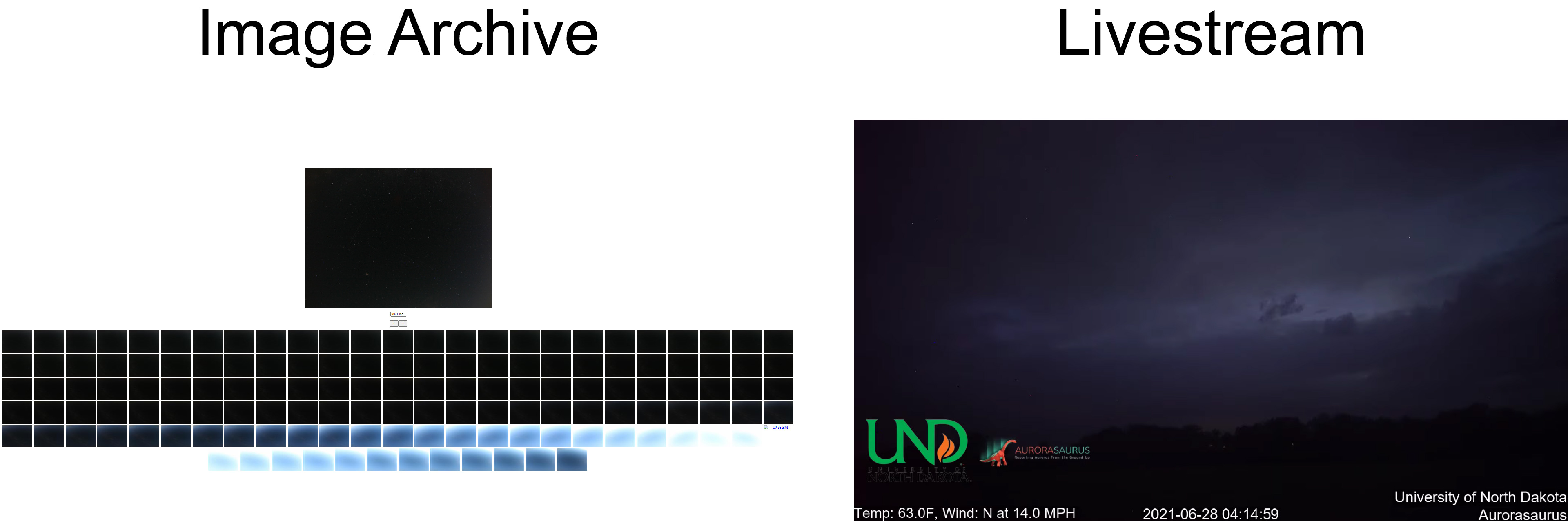 In the archive you can view every image the camera took from a particular night (left).  Screenshot of the NoDDAC north-facing camera livestream (right).