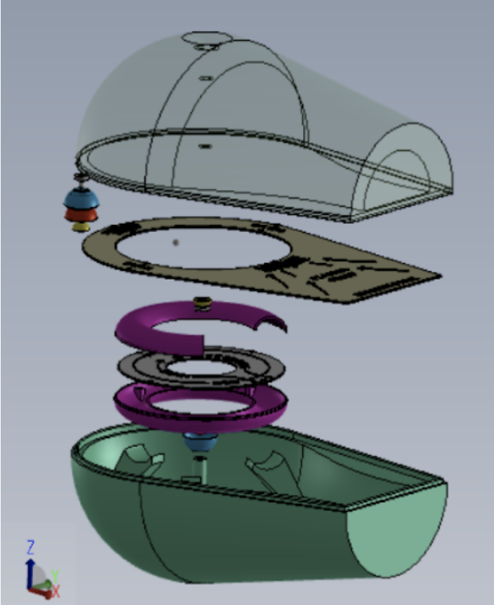 A 3D computer rendering shows all the pieces of the model in slightly separated layers so that each is visible