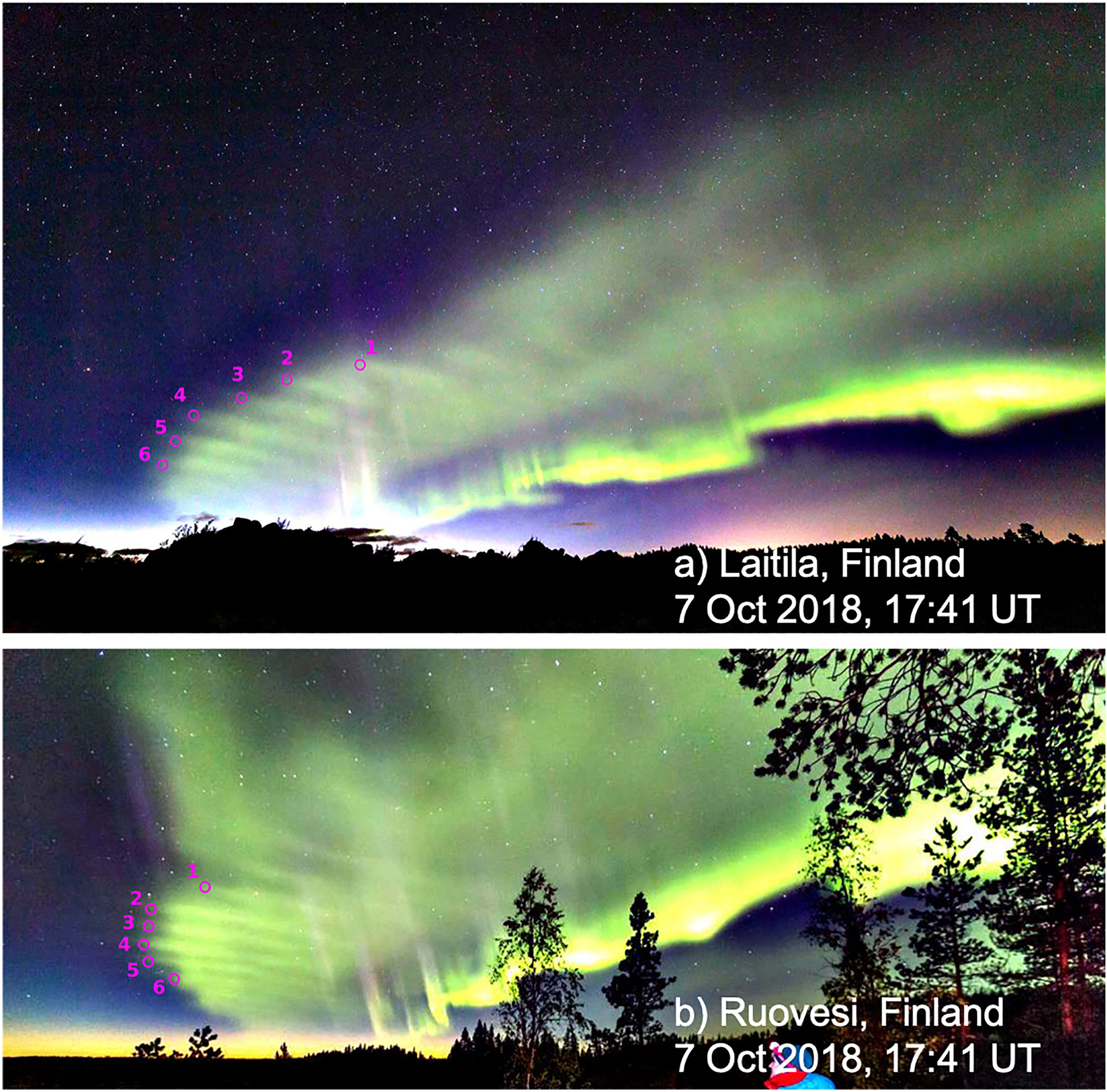 """Two photos show wavelike auroral """"dunes"""""""