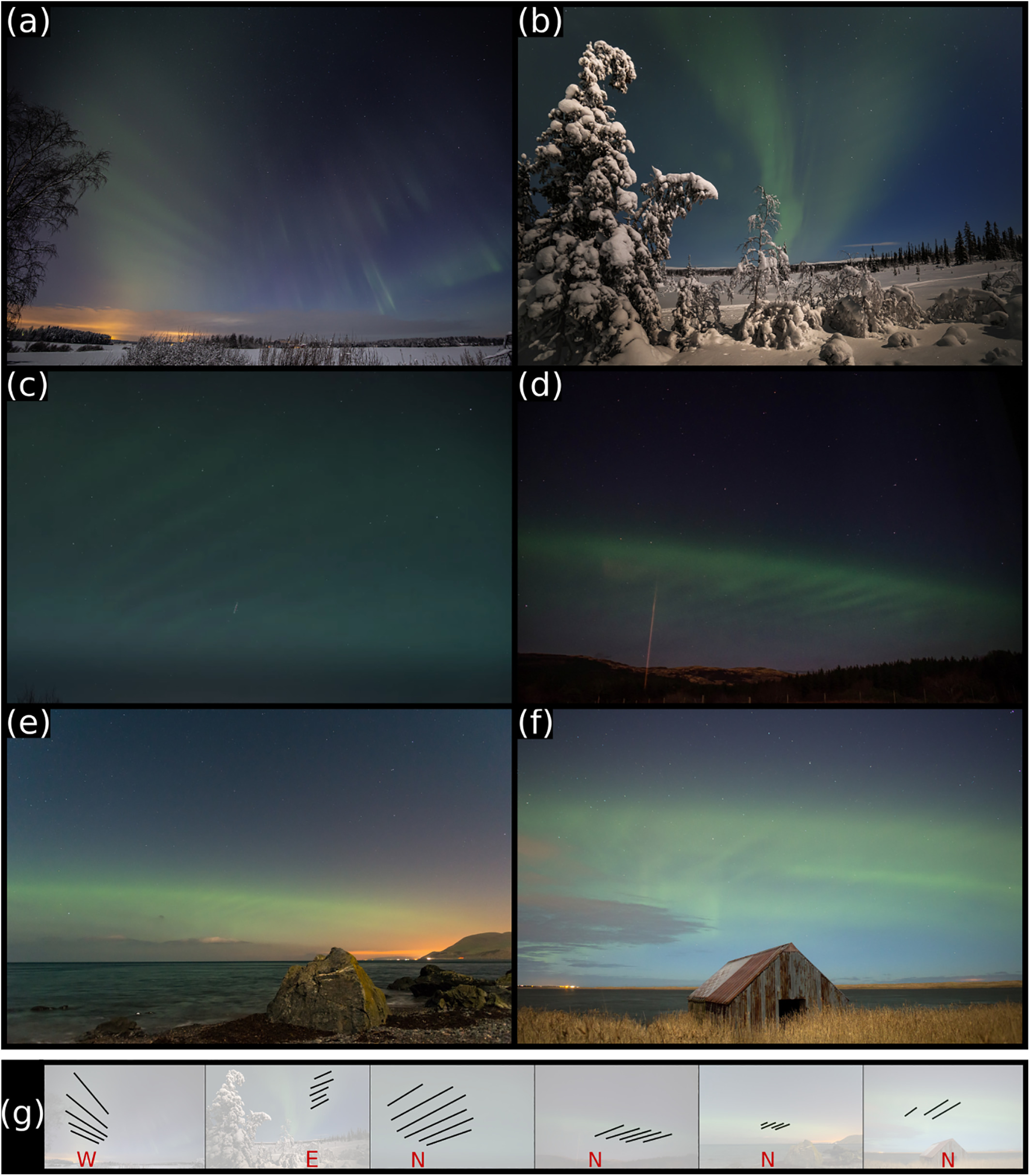 A collage of 5 images show dune aurora