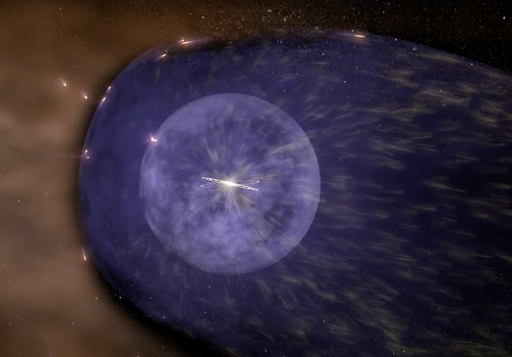 The Sun, tiny and sparkling in the center, is surrounded by illustrated shells representing parts of the heliosphere protecting from interstellar radiation