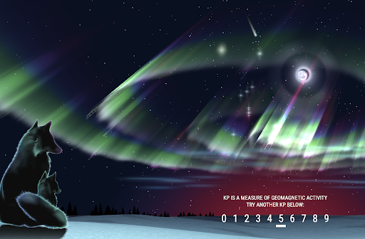 An illustrated fox watches an illustrated aurora, with different levels of intensity on a toggle at the bottom
