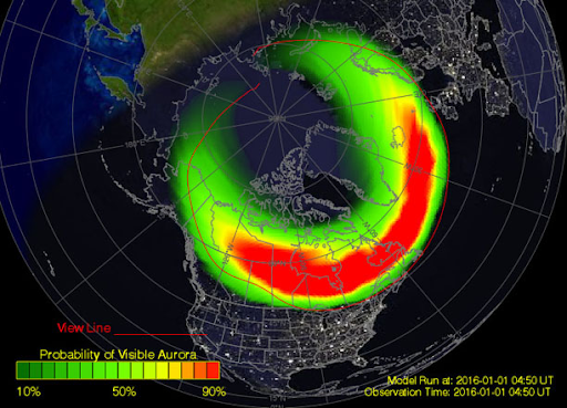 A map of North America has an intense auroral oval overlaid on it