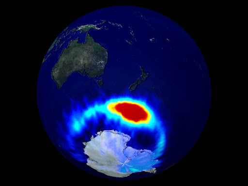 An illustration shows a large area of intensity near Antarctica.